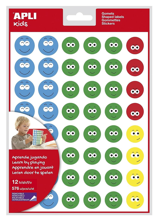 APLI Kids - Bolsa de gomets cara feliz-2, 12 hojas adhesivo removible 14811