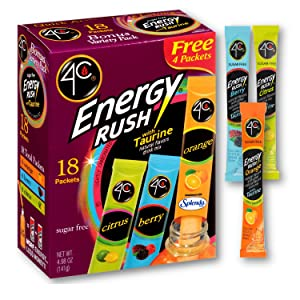 4C Energy Rush Drink Mix - Pack of 2 Boxes - 18 Packets Each - Makes 36 Servings - 6 Orange, 6 Berry, 6 Citrus Packets - Bonus Variety Pack -Net Wt. 4.987 OZ (141g) Each Box