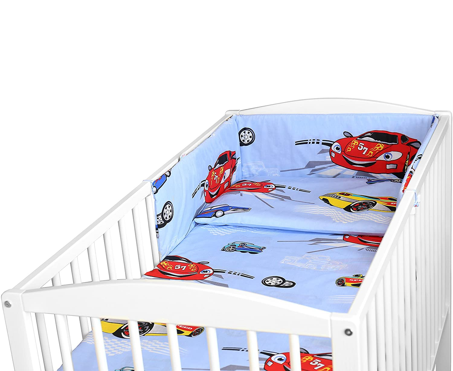 BABY BEDDING SET 3PCS COT BED SIZE PILLOW DUVET COVER BUMPER 140x70CM (BOATS) Babymam