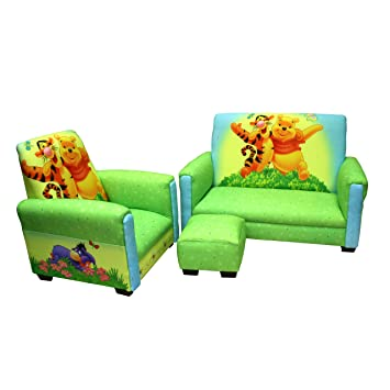 disney deluxe toddler sofa chair and ottoman set winnie the pooh and tigger - Toddler Sofa