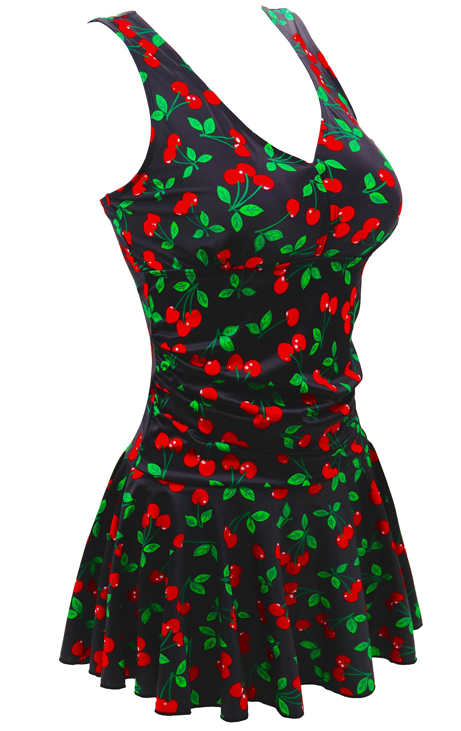 AONTUS Women's Plus-Size Polka Dot Shaping Body One Piece Swim Dresses Swimsuits (XX-Large(US Size:18W-20W), Cherry)