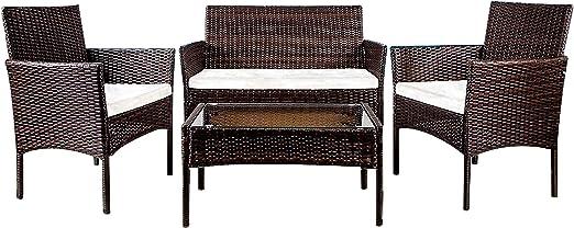 YOUKE Conjunto de Muebles de jardín de ratán para Interiores y Exteriores, 4 Piezas, sofá, Mesa, marrón: Amazon.es: Jardín