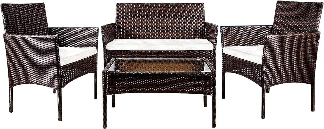 Oferta amazon: YOUKE Conjunto de Muebles de jardín de ratán para Interiores y Exteriores, 4 Piezas, sofá, Mesa, marrón