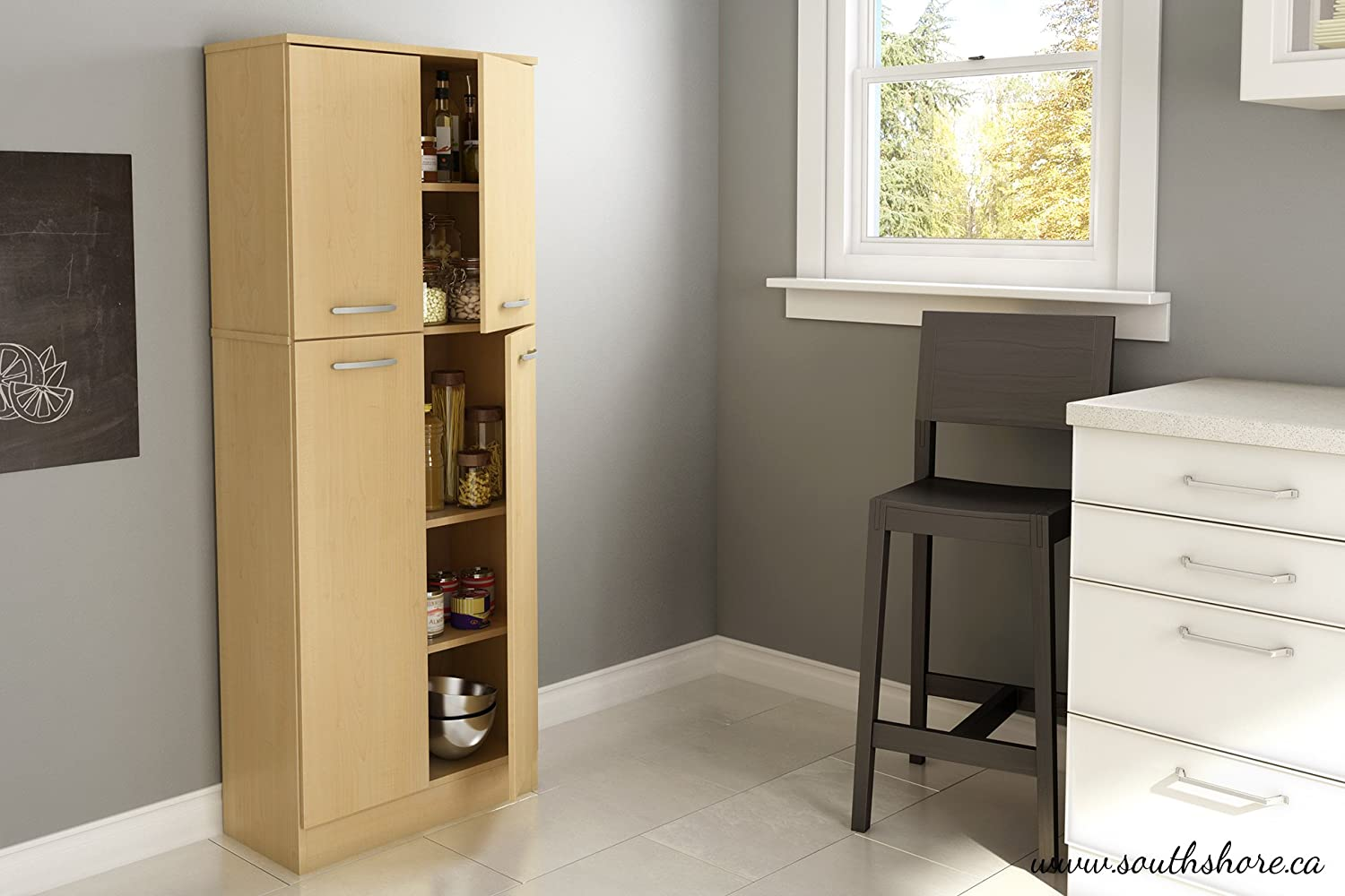 amazoncom south shore 4 door storage pantry with adjustable shelves natural maple home kitchen - Kitchen Storage Pantry