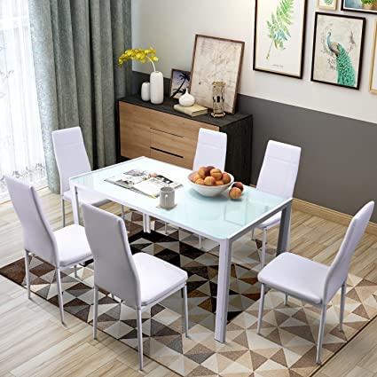 Remarkable Merax 7 Piece Dining Set Glass Top Metal Table 6 Person Table And Chairs 55 Inch White Home Remodeling Inspirations Basidirectenergyitoicom