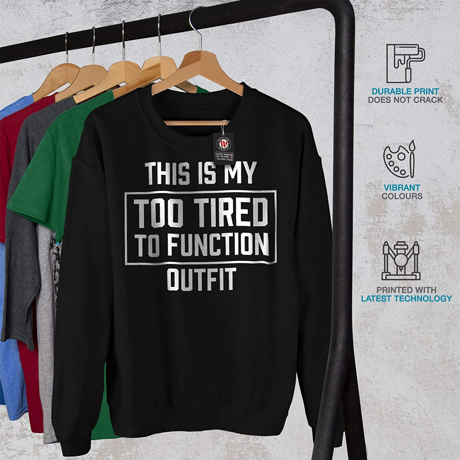 wellcoda Too Tired Outfit Mens Sweatshirt Get Rest Casual Jumper