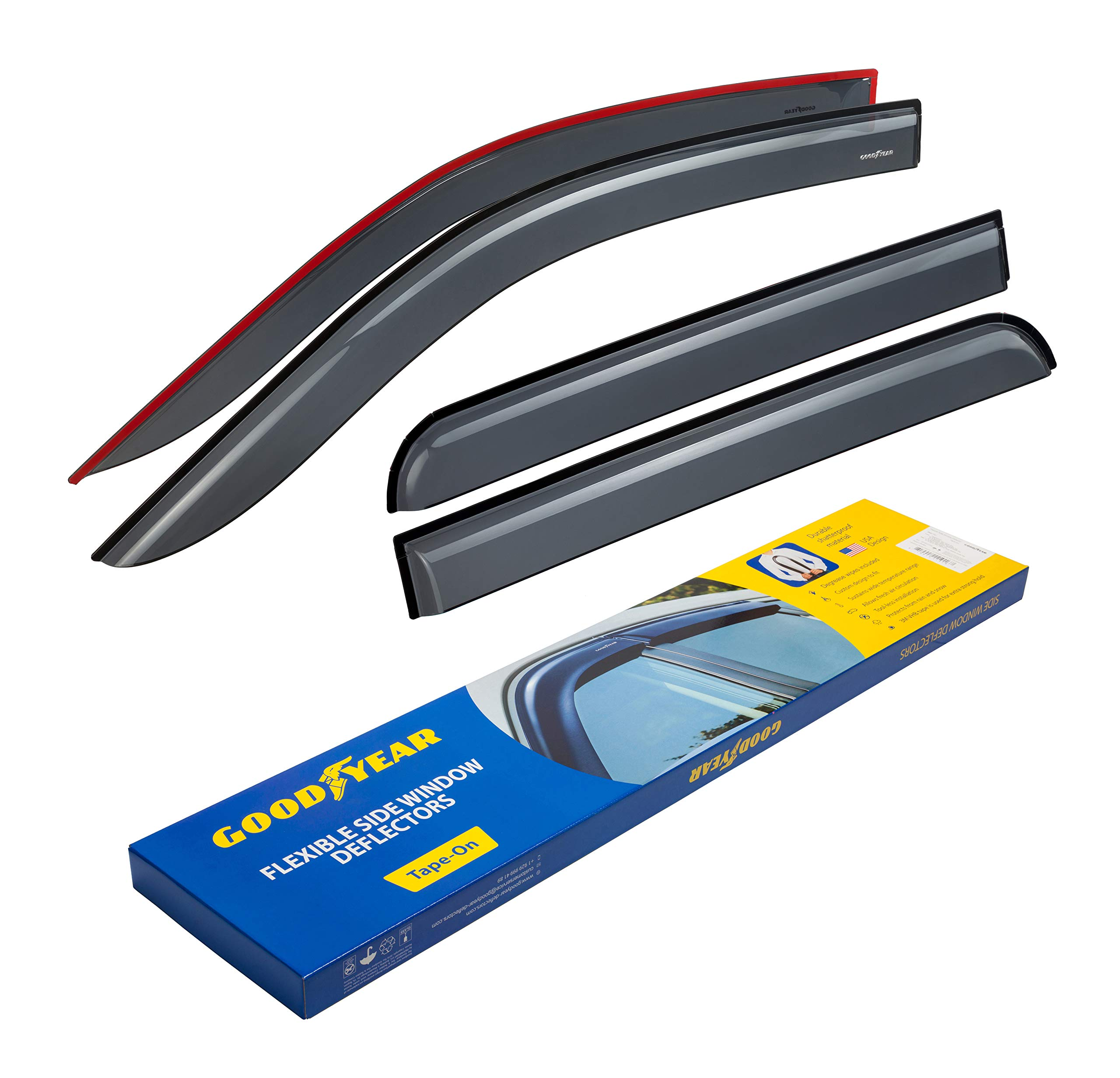 Goodyear Shatterproof Side Window Deflectors for Trucks Ford F-150 2009-2014 SuperCrew Cab, Tape-on Rain Guards, Vent Window Visors, 4 Pieces - GY003110 by Goodyear
