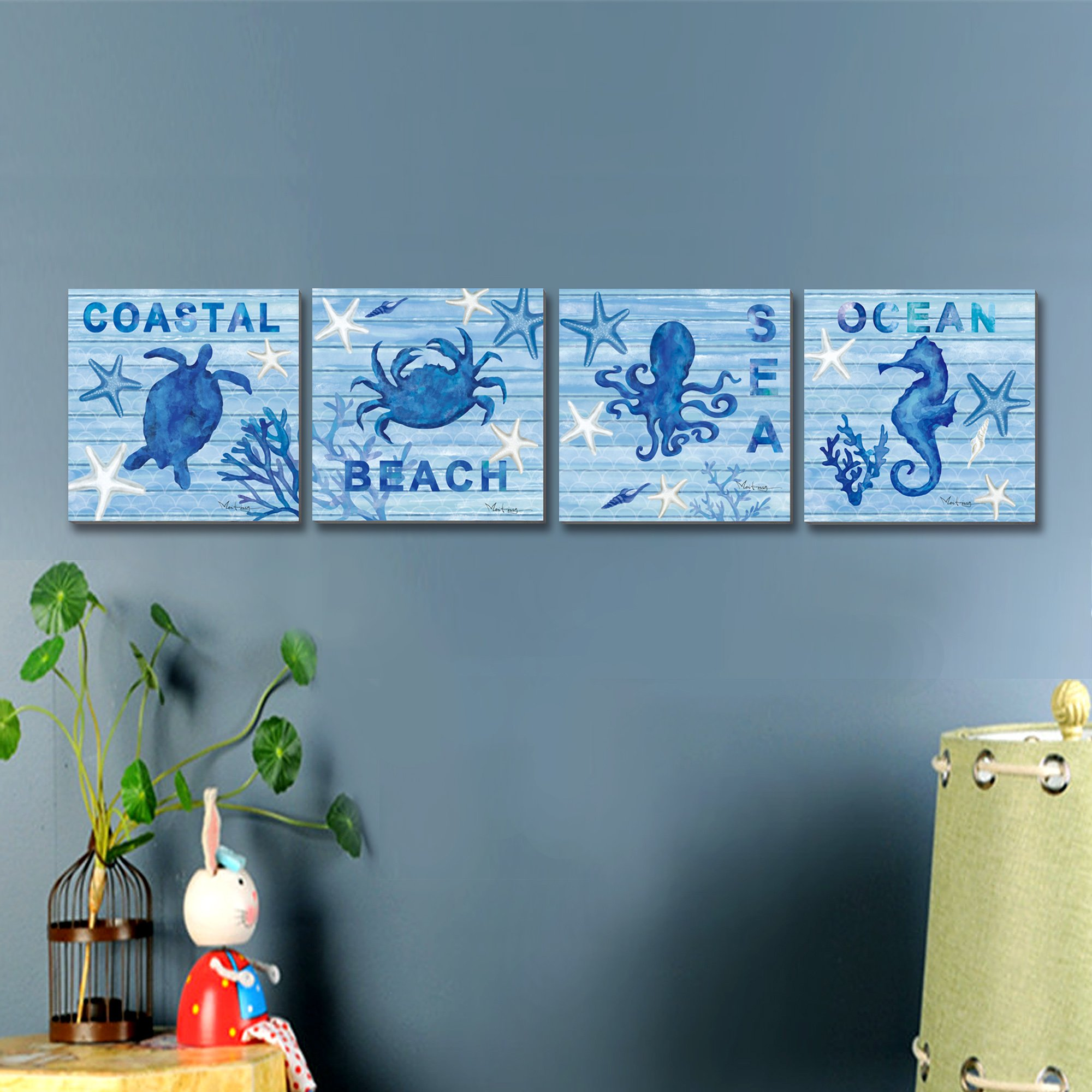 3Hdeko Blue Sea Wall Art Painting Turtle Hippocampus Octopus Crab ...