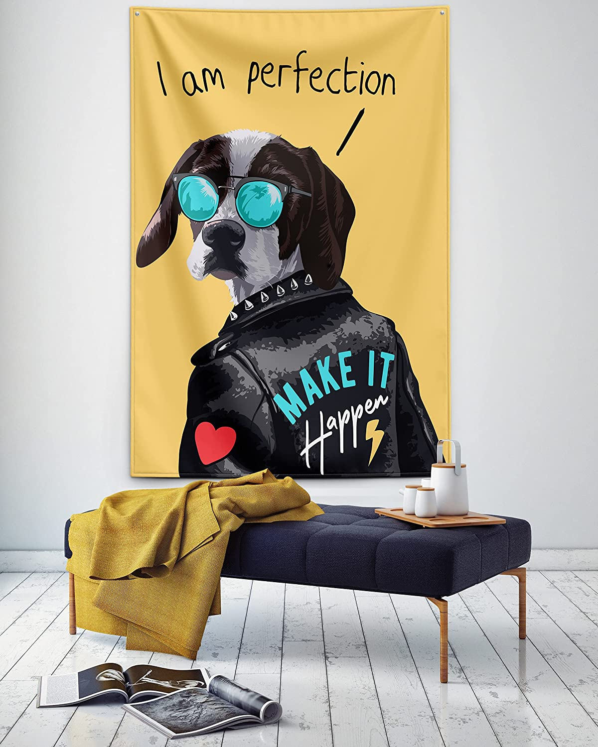 """Funny Dog Tapestry,Cool Dog Wearing Glasses Hippie Tapestry Wall Hanging,Colorful Wall Tapestry for Bedroom Aesthetic Teen Girl Boy Men Women Room Decor College Dorm Art Trippy Small Tapestry 60""""x40"""""""