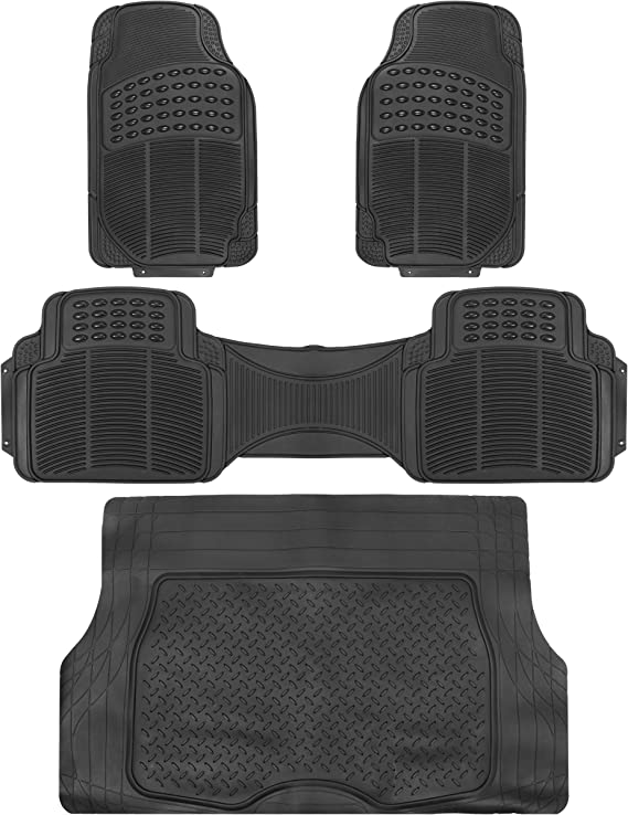 F2C Full Set Universal Car Floor Mats 4PC Black PVC Trim to Fit Automotive Floor Liners