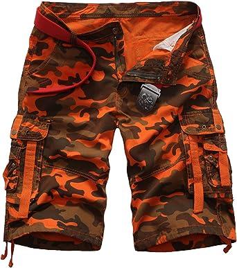 Elonglin - Pantalón corto para hombre, diseño de camuflaje