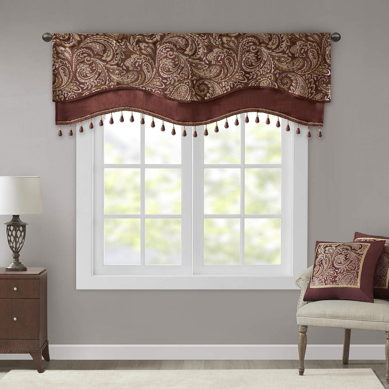 Madison Park Aubrey Shower Curtain Paisley Jacquard Pieced Microfiber Faux Si...