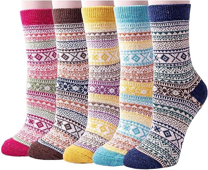 Vellette Calcetines termicos Ricos en Algodon para Muje-Ideales para Invierno Calcetines de algodón, Calcetines térmicos EU 35-42 (5 Pares): Amazon.es: Ropa y accesorios