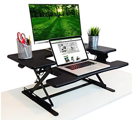 new style efac7 6a2a4 The House of Trade Premium Hardwood Adjustable Black Standing Desk | Deep  Keyboard Tray Fits Laptops | 35 Inch Wide Stand Up Desk | Supports Dual ...