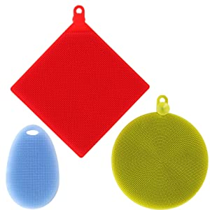 Trenton Gifts Silicone Multi Use Scrubbers | Set of 3 | Great For Dishes & More!