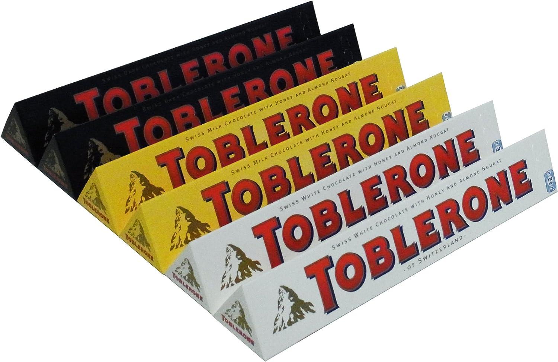Toblerone 2x Milk, 2x White, 2x Dark 360g Paquete de 6