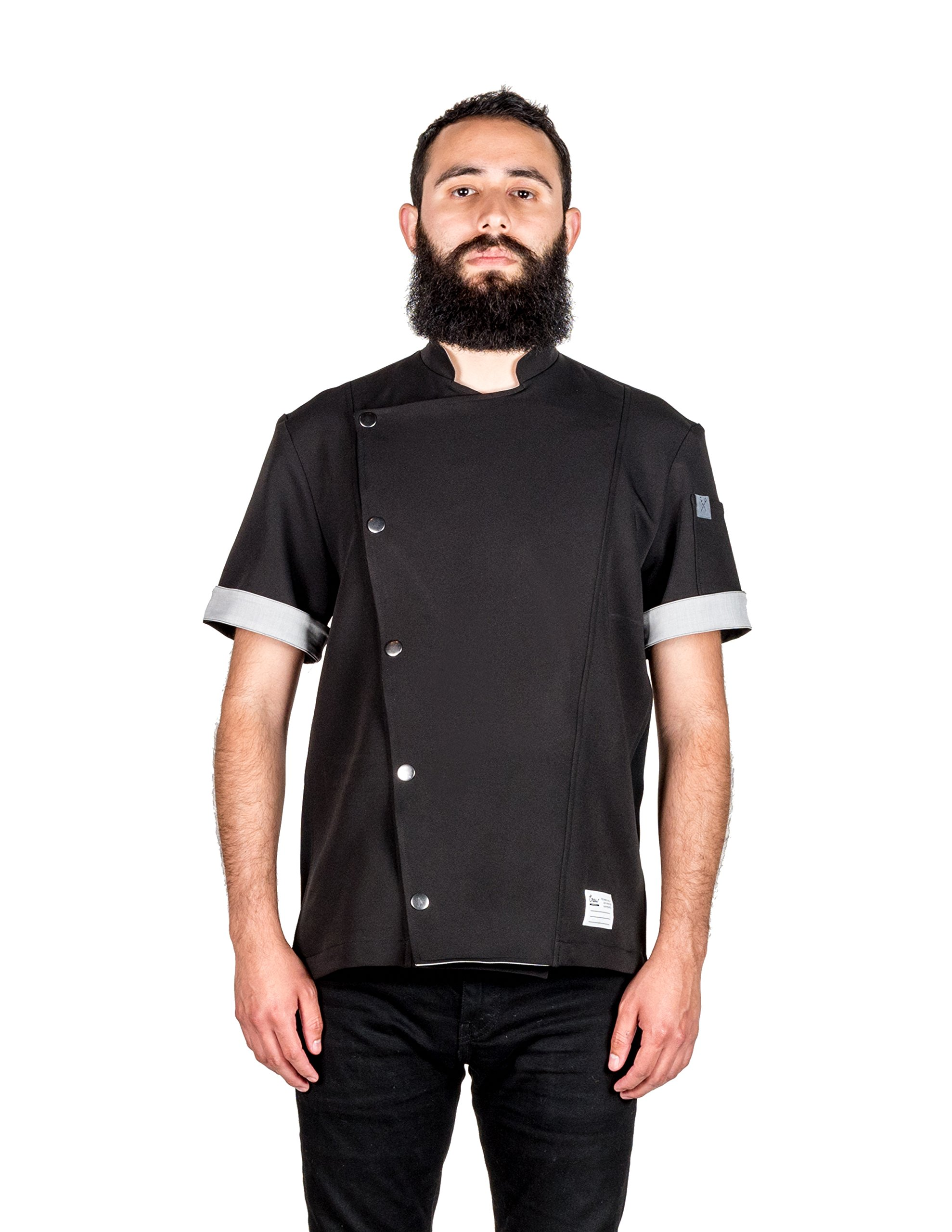 Crew Apparel Men's Chef Coat The Hipster Made in America … (X-Large, Black)