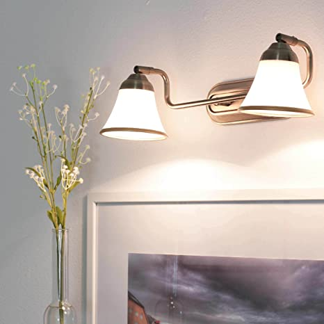 Lámpara decorativa de baño con 2 luces, aspecto de bronce. 2 bombillas E14 IP20, luz para espejo de baño de estilo modernista