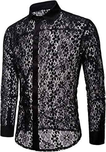 BYWX Men Slim Short Sleeve Button Down See Through Casual Shirt