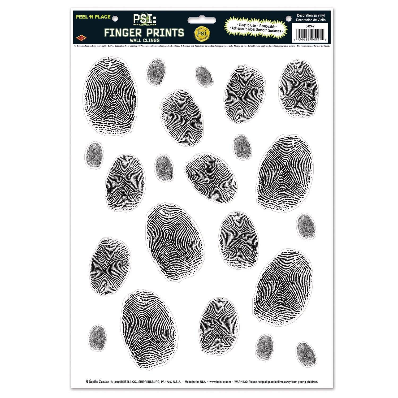 Beistle Fingerprints Peel 'N Place Sheet, 12 by 17-Inch, Black/White