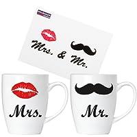 Brubaker Coffret de 2 Mugs 'Mr. & Mrs.' - Tasses à café en Céramique - Idée Cadeau avec Carte de vœux