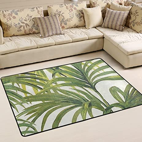 WOOR Tropical Palms Leaf Living Room Dining Area Rugs 3 X 2 Feet Bed