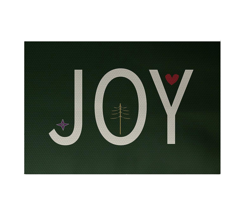 E by design Joy Filled Season Decorative Holiday Word Print Rug 4 by 6 Dark Green