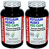 Yerba Prima Psyllium Husks, 180 Veg Caps (Pack of 2)