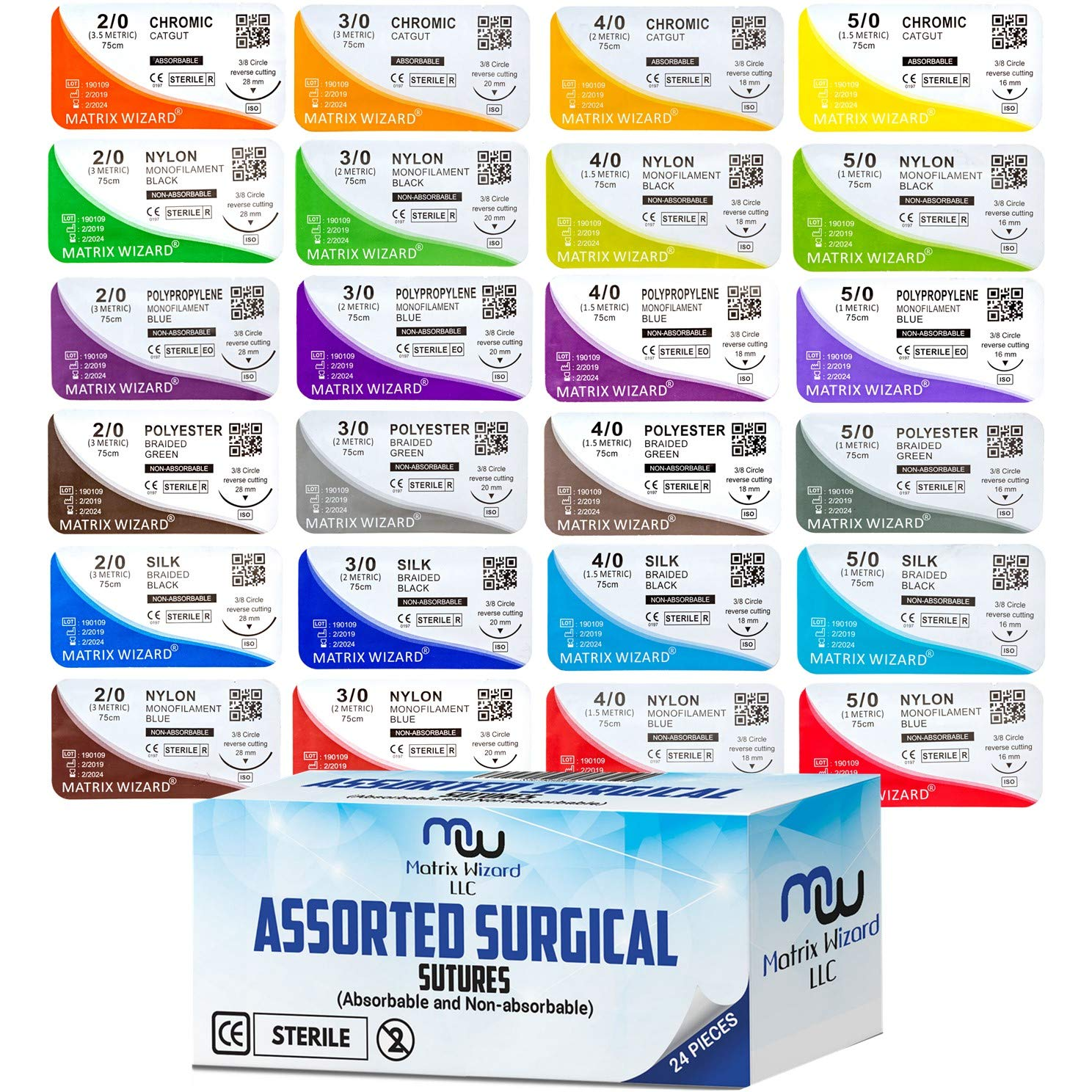 Mixed Sutures Thread with Needle (Absorbable: Chromic Catgut; Non-Absorbable: Nylon, Silk, Polyester, Polypropylene) - Surgical Wound Practice Kit, Emergency First Aid Demo (2-0, 3-0, 4-0, 5-0) 24Pk by Matrix Wizard (Image #7)