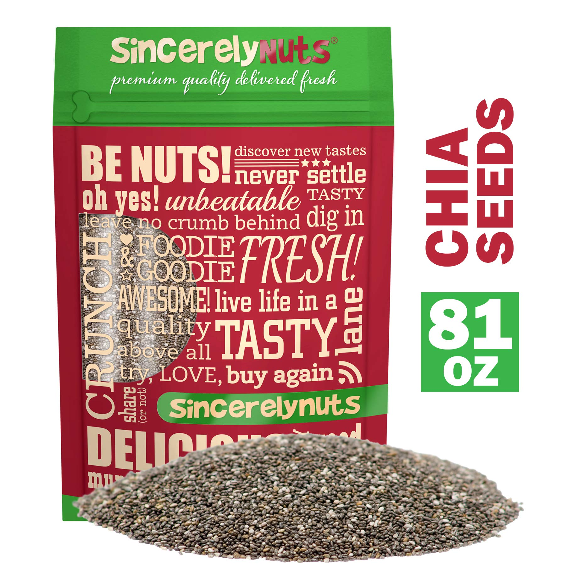 Sincerely Nuts Black Chia Seeds (5lb bag) - Natural Superfood   Raw, Gluten Free, Vegan & Kosher   Healthy Snack Food & Smoothie Thickener   Amazing Source of Protein, Omega 3, Fiber, Vitamins by Sincerely Nuts