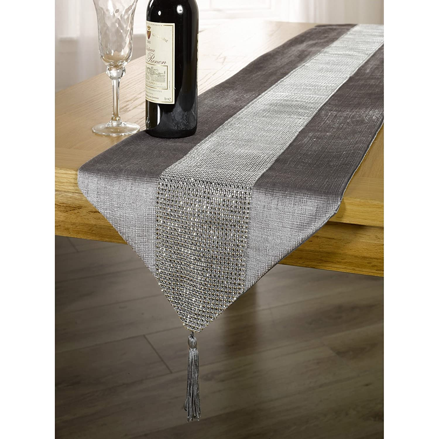 Panache Coloured Table Runner with Diamante Strip and Tassels (13inch x 72inch) (White) UTMS151_9