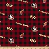 NCAA Florida State Seminoles Buffalo Plaid Cotton Quilt Fabric By The Yard
