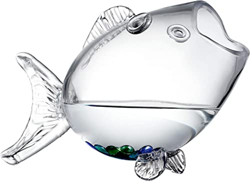 Clear Glass Decorative Fish Shaped Tank/Bowl/Vase/Storage Jar/Container