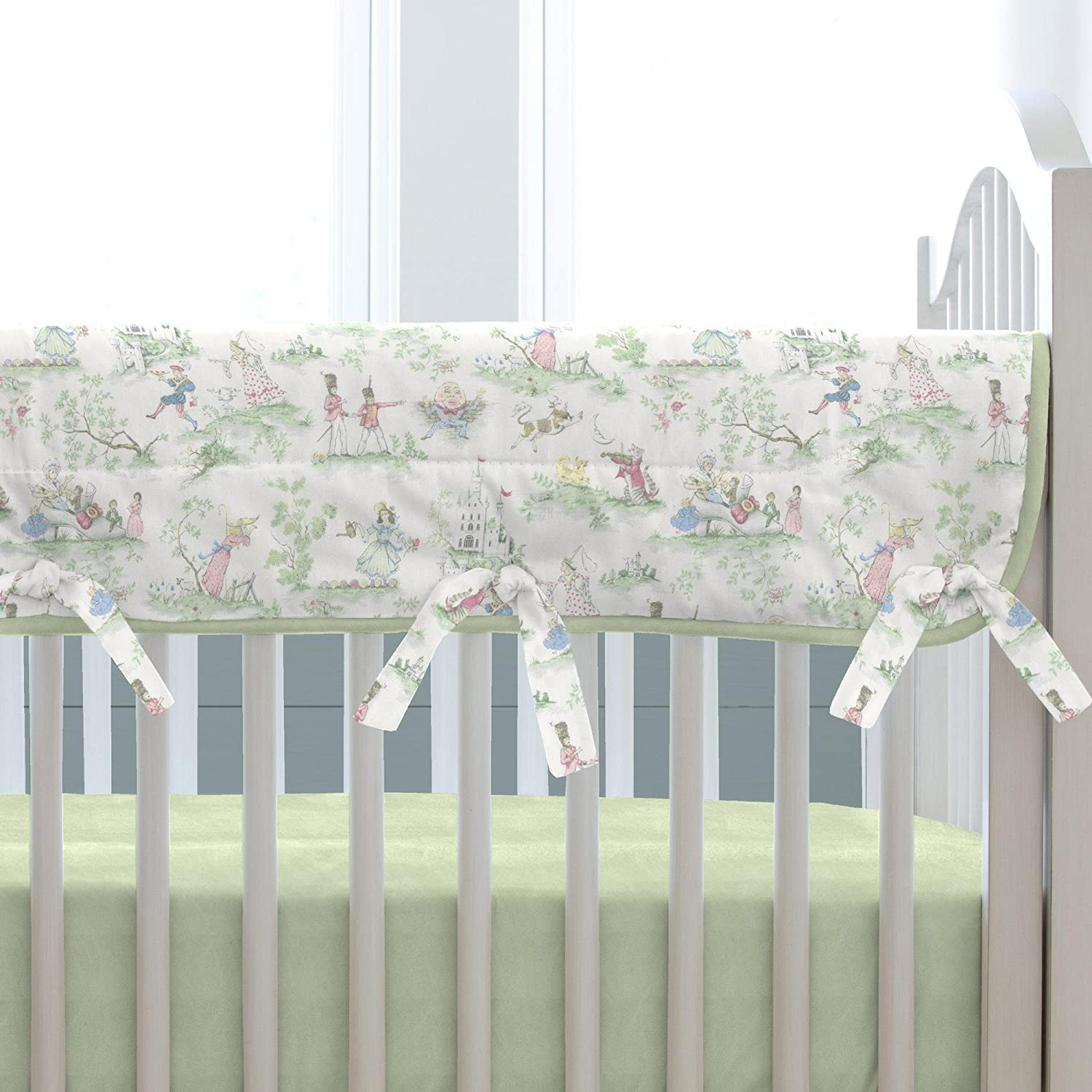 Carousel Designs Nursery Rhyme Toile Sage Crib Rail Cover