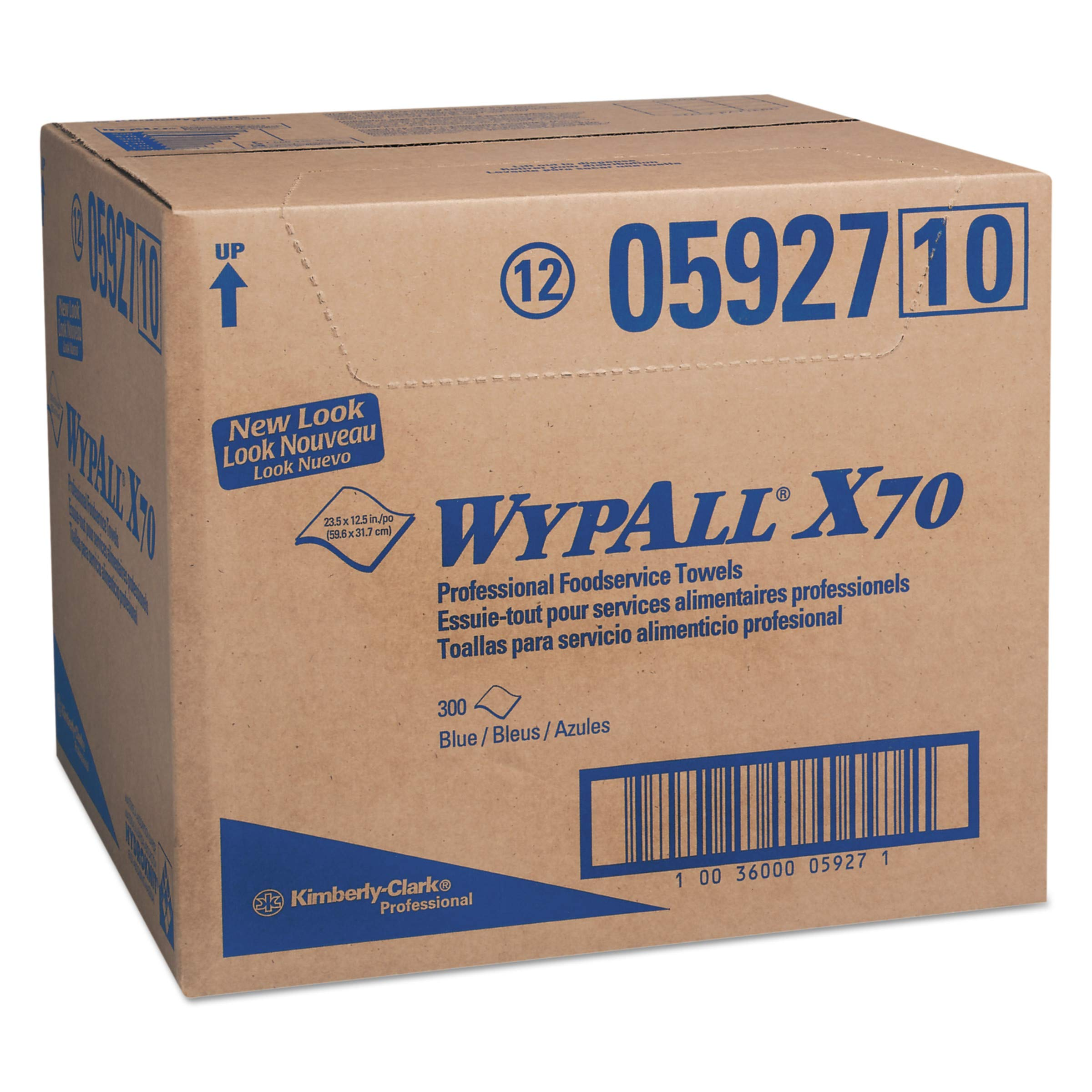 WypAll 05927 X70 Foodservice Towels, 1/4 Fold, 12 1/2 x 23 1/2, Blue (Case of 300) by Wypall