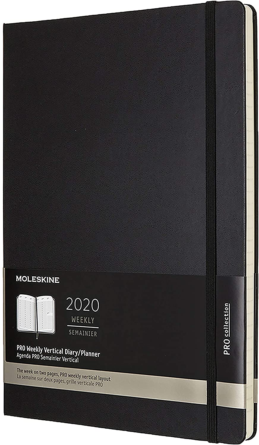 Agenda 2020 Pro Semainier Vertical A4 Noir Rigide: Amazon.es ...