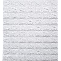 SkyWalls 3D DIY Self Adhesive Brick Wallpaper Stickers (White, 70 x 77cm, 5.8 Sq Ft)
