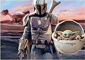 Baby Yoda Diamond Painting, The Mandalorian Posters Wall Art Painting for Boys Room Decoration, Diamond Picture Beads Pasted Craft DIY 5D Painting for Home Wall Decor, 16