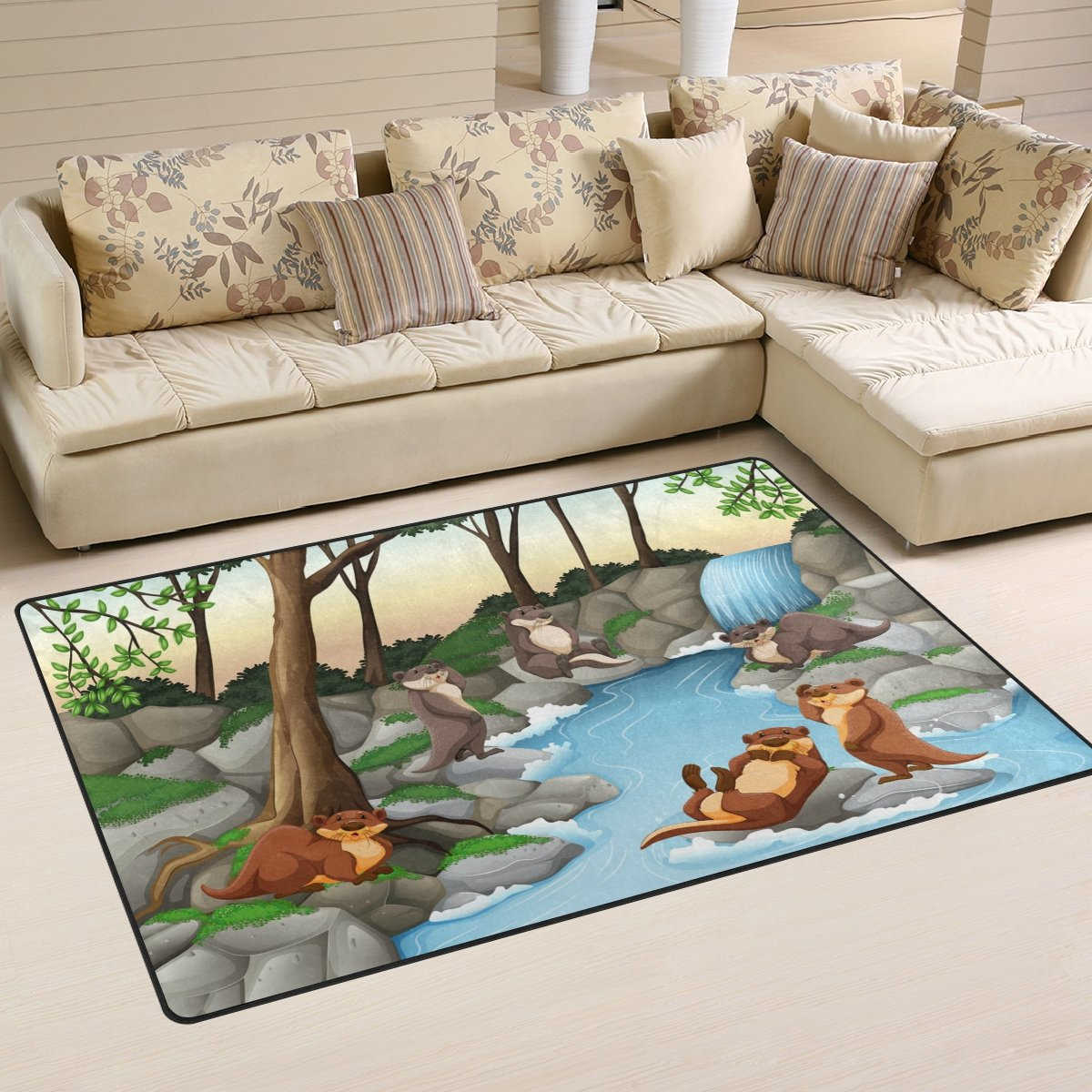 WellLee Animal Area Rug,Beavers Living By The River Illustration Floor Rug Non-slip Doormat for Living Dining Dorm Room Bedroom Decor 60x39 Inch