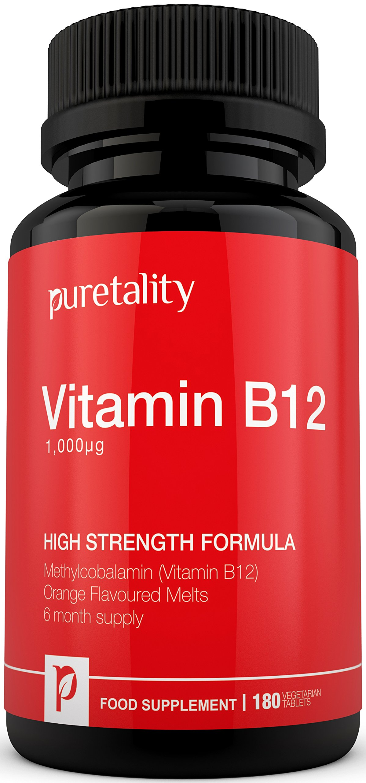 Vitamin B12 Methylcobalamin 1000mcg 180 Tablets (6 Month Supply) - 100% MONEY BACK GUARANTEE – High Strength Methylcobalamin B12 Sublingual Tablets Suitable for Vegetarians by Puretality product image
