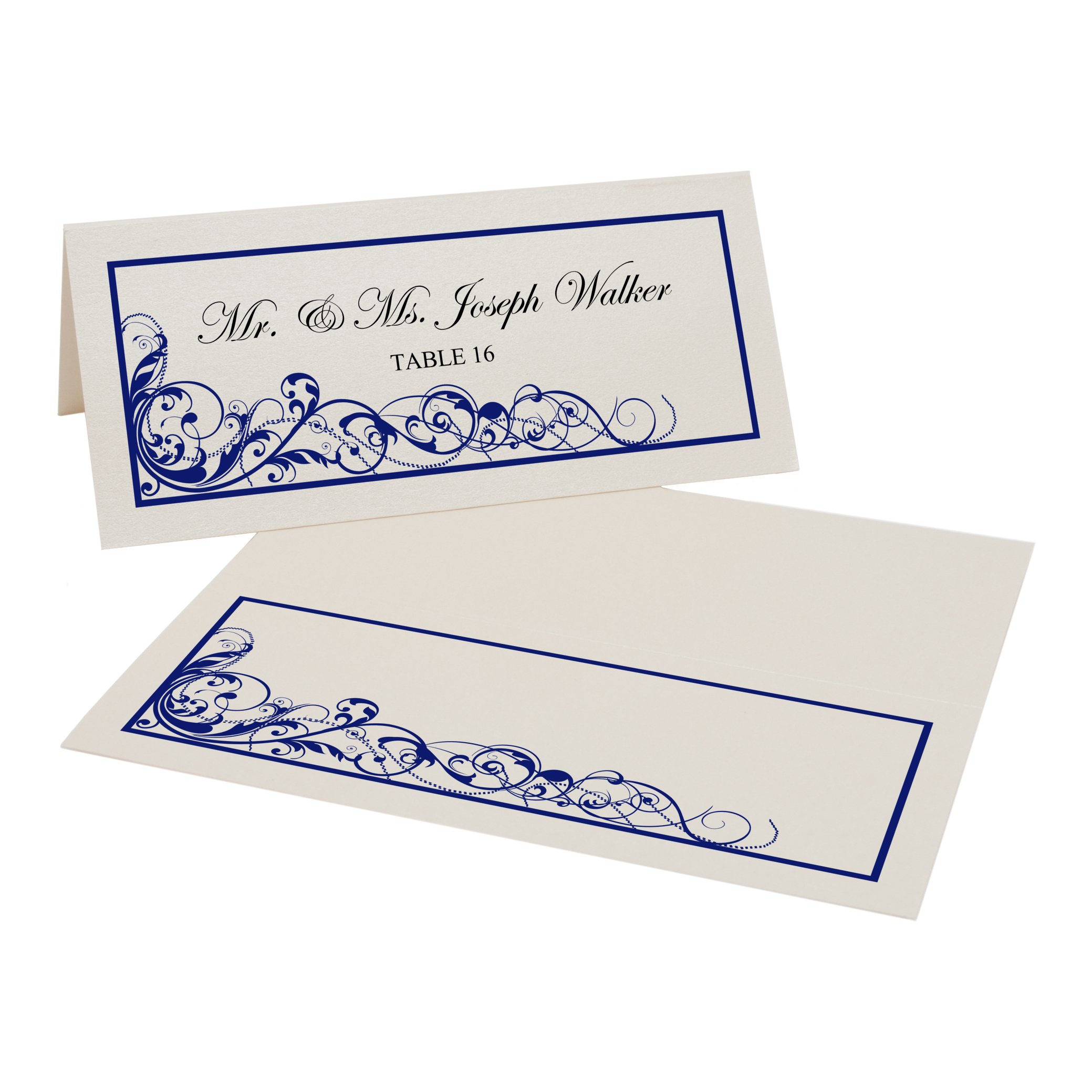 Scribble Vintage Swirl Easy Print Place Cards, Champagne, Navy, Set of 475 (119 Sheets) by Documents and Designs