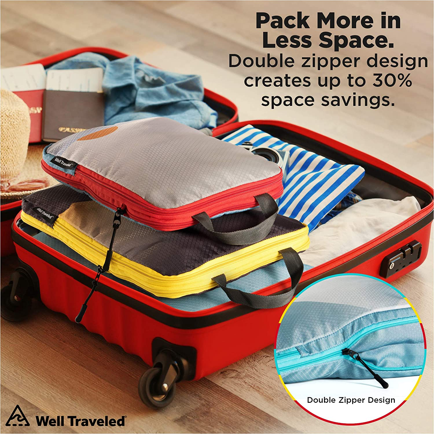 Suitcase Organizer /& Backpack Organizer with Space Saver Travel Bags for Packing Clothes 3pc Compression Packing Cubes for Travel Travel Gear /& Travel Accessories Luggage Organizer Well Traveled