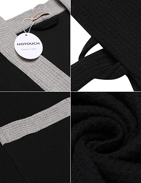 DonKap Womens Kimono Robe Waffle-Weave Bathrobe 3/4 Sleeve Soft Lounge Wear S-XL at Amazon Womens Clothing store: