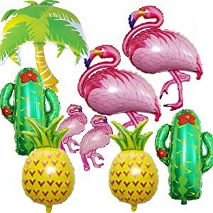 Flamingos Theme Party Foil Balloons Kit(9 pack), 2 Pack Pineapple Balloons 1 Palm Tree Balloon 2 cactus Balloons 2 Flamingo Balloons 2 mini Flamingo Balloons Luau balloons for tropical Party Supplies