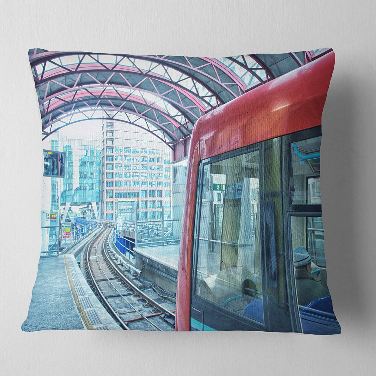 26 in Insert Printed On Both Side Sofa Throw Pillow x 26 in in Designart CU14332-26-26 Departing London Subway Train Modern Cityscape Cushion Cover for Living Room