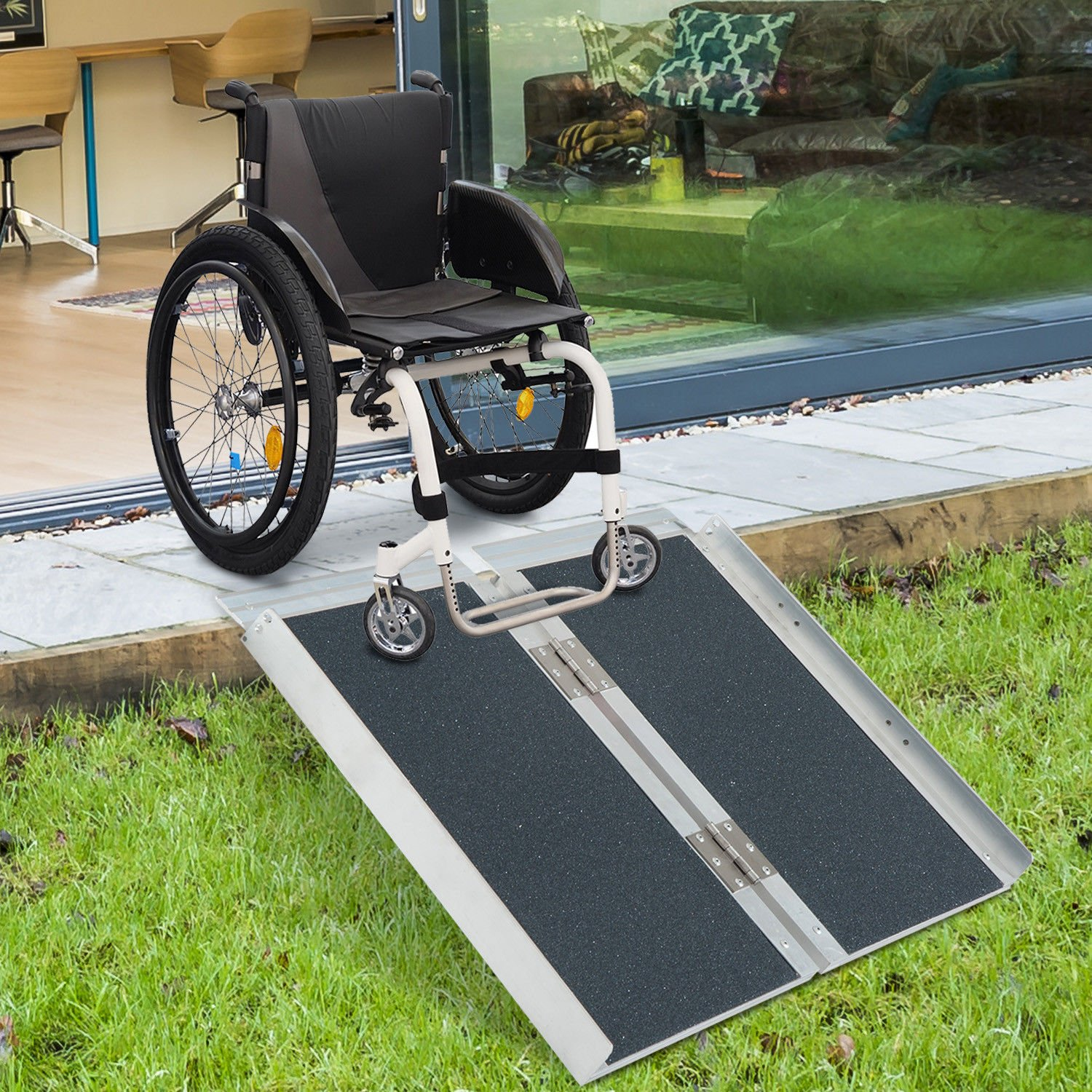 HOMCOM 2' Lightweight Aluminum Portable Skidproof PVC Carpeted Folding Wheelchair Ramp by HOMCOM (Image #3)