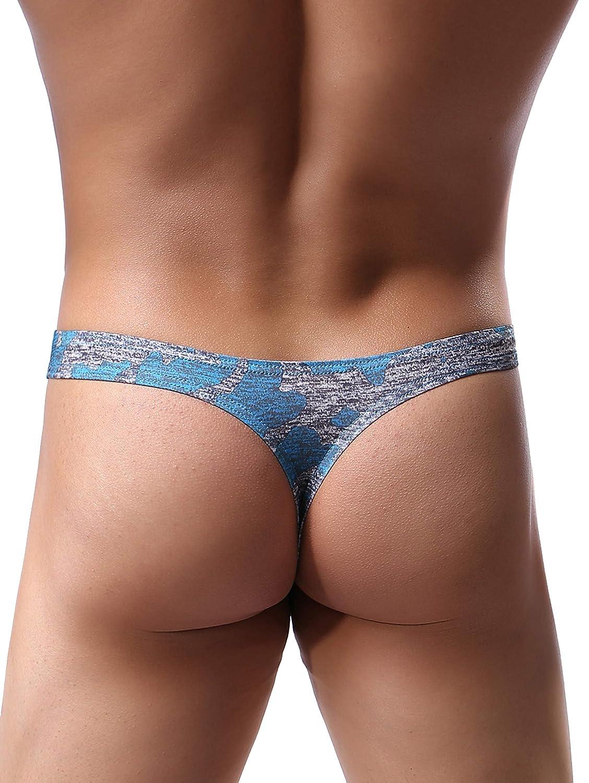 iKingsky Mens Camouflage Thong Underwear Big Pouch T-Back Under Panties Enhance Underwear