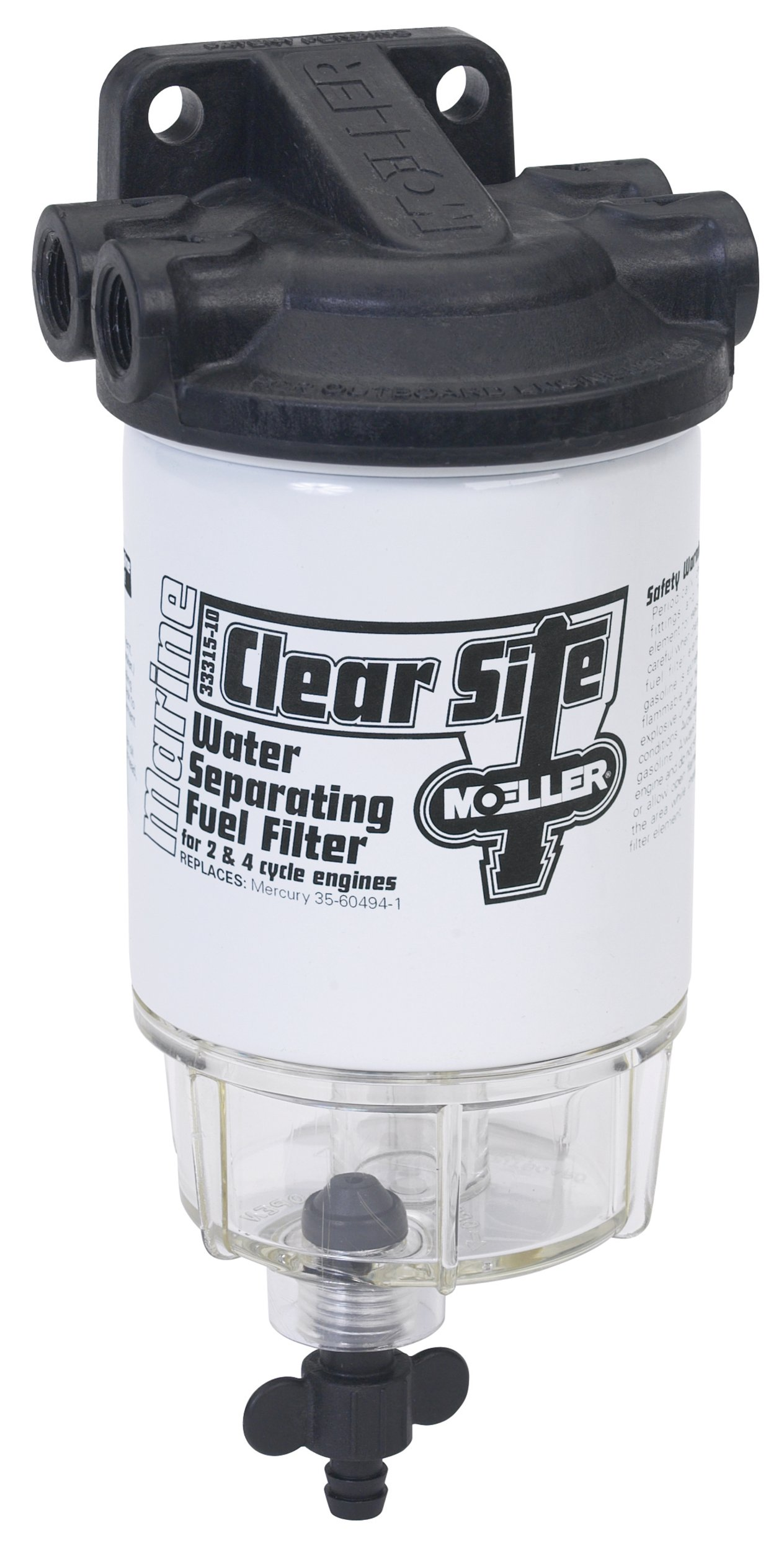 Moeller Clear Site Water Separating Fuel Filter System for outboard Motors (3/8'' NPT, Composite)