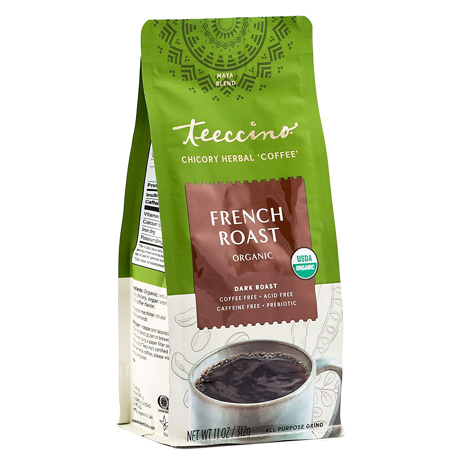 Teeccino Chicory Coffee Alternative – Organic French Roast – Herbal Coffee | Ground Coffee Substitute | Prebiotic | Caffeine Free | Acid Free, 11 Ounce