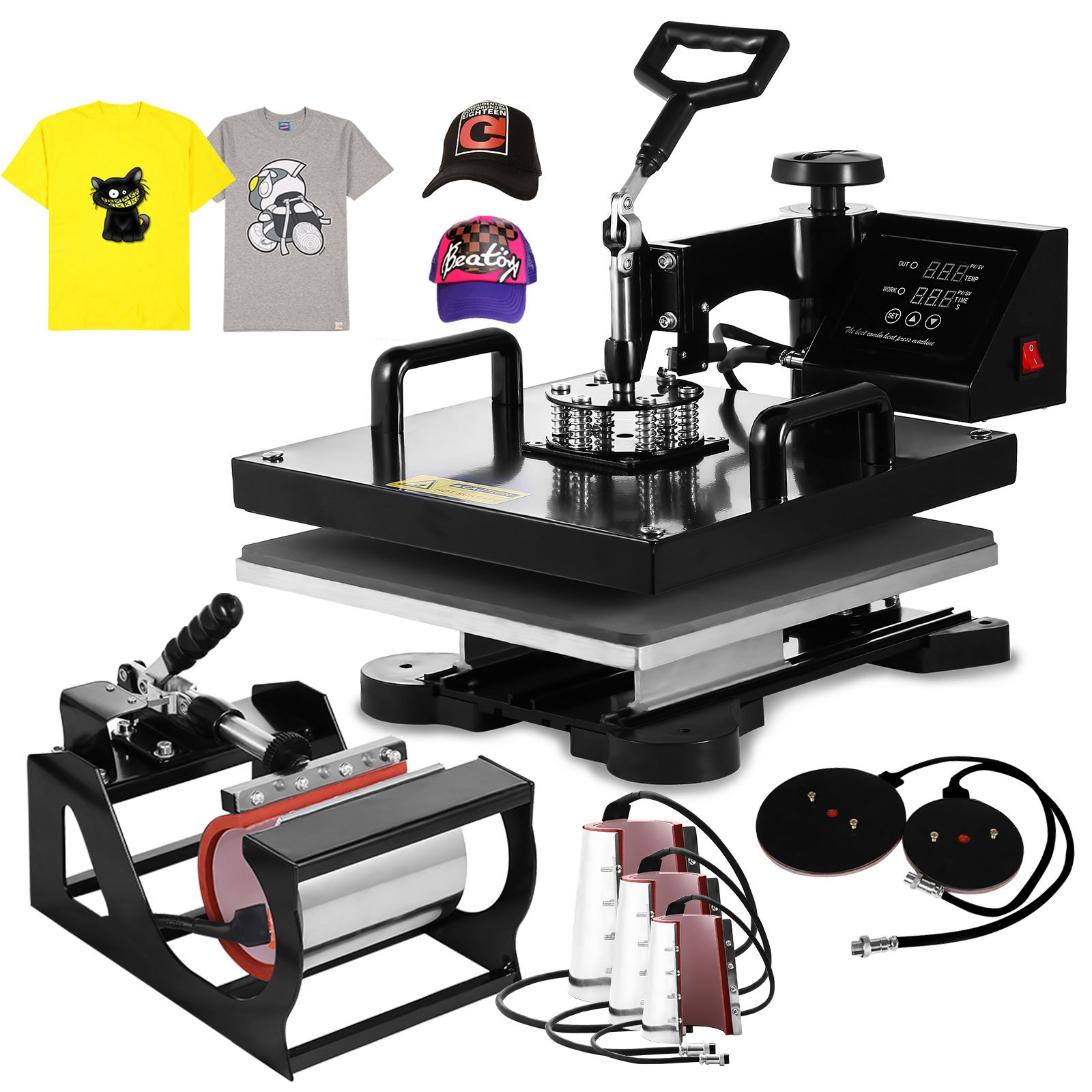 Mophorn Heat Press 8 in 1 15 X 15 Inch Multifunction Sublimation Heat Press Machine Desktop Iron Baseball Hat Press 1000W Digital Swing Away Transfer T Shirt Hat Mug (8IN1 15x15Inch) by Mophorn